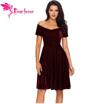 Dear Lover Velvet Dresses 2018 Sexy Womens Party Vestidos de Festa Off Shoulder Burgundy Pleated Midi Dress Robe Velours LC61861