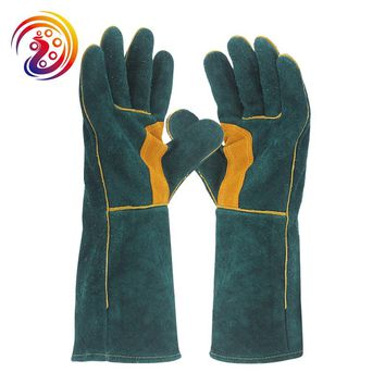 OLSON DEEPAK Cow Split Leather Long Welders Gloves Barbecue Cutting Factory Gardening Wood Stove Work Glove HY038