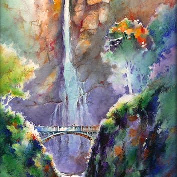 Multnomah Falls- Late Summer Evening- Watercolor Art Print. Columbia River Gorge Waterfall Painting. Oregon Art. Watercolor Waterfall.