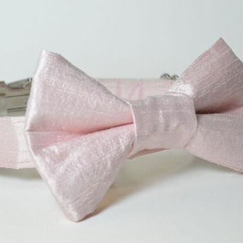 Wedding Dog Collar and Bow Tie - Pale Pink Silk With Metal Hardware - pink, designer dog collar, matching leash