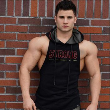 Men's Tank Top Hoodie Fitness Bodybuilding Muscle Cut Stringer Cross fit Workout  Tank Top Active wear Male