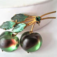Green Art Glass Brooch, Forbidden Fruit,  Double Apple, Austria Glass Cabachon, Rhinestone Pin