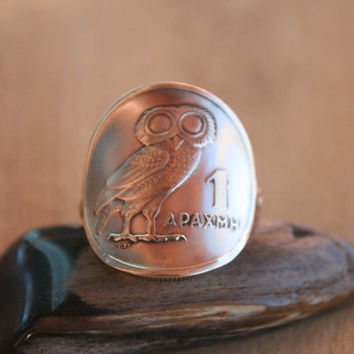 """Authentic Greek 1973 1 Drachmai """"OWL"""" coin ring with Sterling band size 6.."""