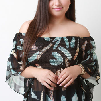 Off The Shoulder Feather Print Chiffon Top