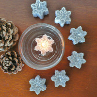 Snowflakes floating candles pine scented / Grey snowflakes with silver glitter / Winter Holiday Christmas Decor / Corporate Christmas gifts