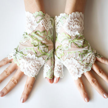 Arm Warmers Off Whiite and Green Mint Lace Romantic Floral Fingerless Gloves Gothic Victorian White and Green MInt Lace