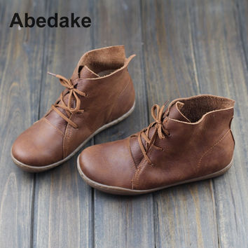 2017 ABEDAKE BRAND SPRING HANDMADE COW LEATHER BOOTS FLAT BOTTOM GENUINE LEATHER BOOTS WOMEN SHOES CASUAL BOOTS SIZE 35-40