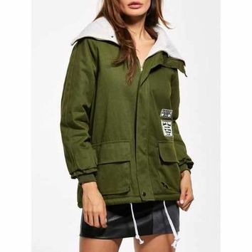 Lamb Wool Patched Utility Jacket - Green M