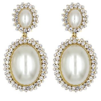 Porcia Crystal Pearl Statement Earrings