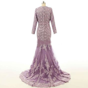 Muslim Lace  Dresses Long Evening Dresses Lilac Applique Long Sleeves Formal Gowns