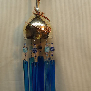 Whimsical, Handmade, Recycled, Blue, Turquoise, Tropical, Ocean Colored Glass Wind Chime WC-09
