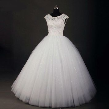 Lace Ball Gown Wedding Dress Vintage Shiny Crystal Beading Floor Length Wedding Gowns High Quality