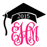 5 inch Vinyl Car Decal Graduation Class of 2015 Design Monogram