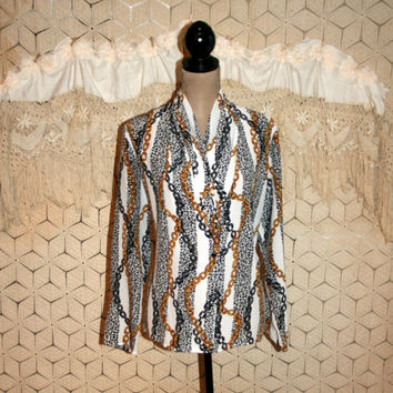 Vintage Long Sleeve Blouse Designer Gold Chain Print Animal Print Dressy Blouse Shawl Collar Anna Kriste Medium Large Womens Clothing