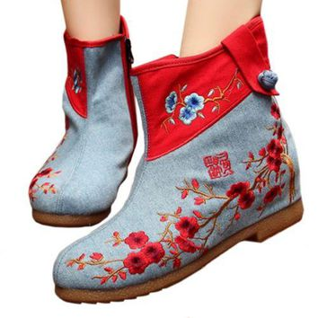 Vintage Beijing Cloth Shoes Embroidered Boots jeans blue 35