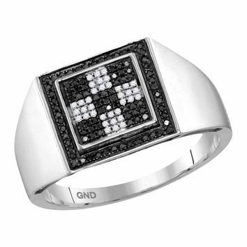 10kt White Gold Men's Round Black Color Enhanced Diamond Checkered Square Cluster Ring 1/4 Cttw - FREE Shipping (US/CAN)