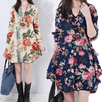 Womens Floral Linen Cotton V-Neck Loose Casual Maternity Dress Long Sleeve