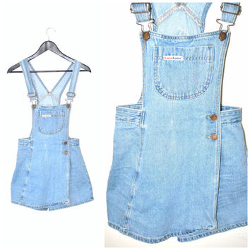 vintage DENIM jumper vintage 70s 80s light wash JEAN overalls shortalls SKORT bib dress