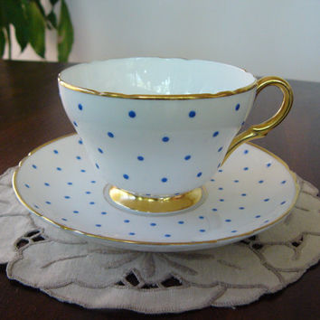 Cup and Saucer ... Shelley English China ... Blue Polka Dot Pattern ... Fine Bone China ... 1940's