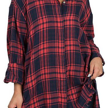 Umgee Women's Red & Navy Plaid Frayed Edge Long Sleeve Fashion Shirt