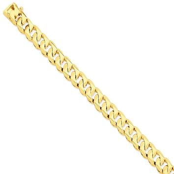 Men's 14k Yellow Gold, 12mm Traditional Link Bracelet - 8 Inch