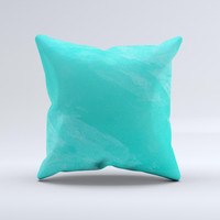 Subtle Neon Turquoise Surface Ink-Fuzed Decorative Throw Pillow