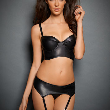 Aliya Vegan Leather Long Line Bra Set with Gartered Panty