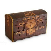 NOVICA Brown Wood Decorative Box From Peru 'Colonial'