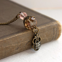 Downton Abbey Inspired Antique Gold Beaded Pendant - Pink and Brown Beaded Necklace - Neo Victorian Jewelry - Ready to Ship