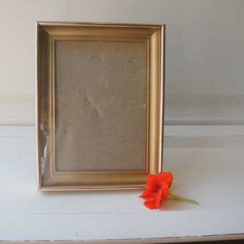 Vintage Gold Brass Toned Thick Metal Frame Glass Shadow Box Mid Century Mod Wedding Decor Shelf Table Golden Shabby Chic Victorian