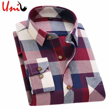2017 Spring Autumn Flannel Men Plaid Shirt Long Sleeve Men's Warm Casual Shirts British Cotton Mens Check Shirt 14 Design YN790