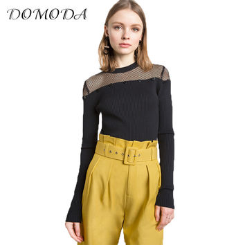 DOMODA 2017 Black Solid Sexy Sweater Women Clothing Long Sleeve O-Neck Sheer Knitted Pullovers Female Elegant Party Sweater