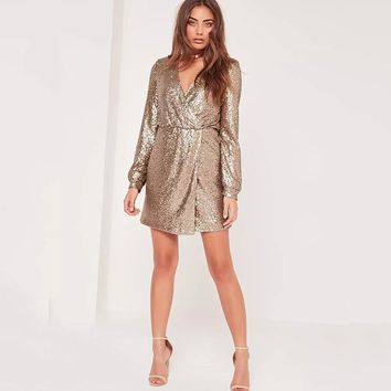 Sexy patchwork sequined long sleeve V-neck Woman's Casual dress