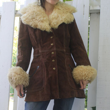 Vintage 70s Suede Leather Coat Brown Jacket Womens The Tannery S