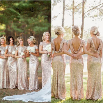 Low Back Sequin Bridesmaid Dresses With Stretch Lining Slim Long Formal Women Party Dress for Weddings