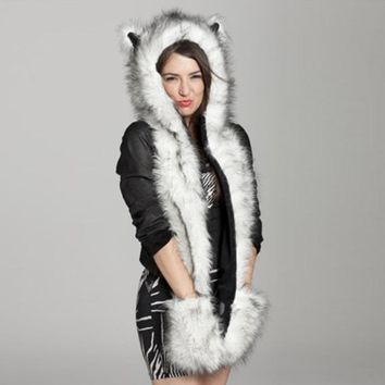 2017 Winter Warm Women&Men Kawaii Scarf Shawl Animal Faux Fur Ears Hat Fluffy Plush Cap Casual Cute Hood Gloves Scarf Shawl