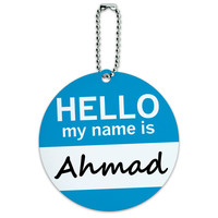 Ahmad Hello My Name Is Round ID Card Luggage Tag