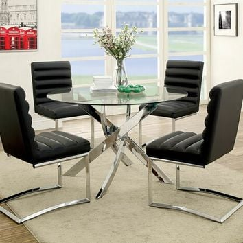 Furniture of america CM3381T-3170BK-SC 5 pc yasmin collection modern style chrome and round glass table dining set with black chairs