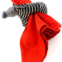Black Soapstone Zebra Napkin Rings (Set of 4)