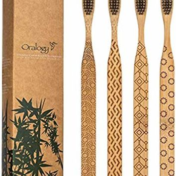 Natural Carved Bamboo Toothbrushes for Adults | Activated Charcoal Soft BPA Free Nylon Bristles for Teeth Whitening & Whitening Gums | Smooth Comfortable Biodegradable Design Handle | Pack of 4 Dental