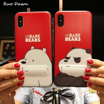 Ruo Dawn Cartoon Bear For iphone 6 6S 7 8 Plus X Phone Cases Soft Silicone+Plastic Shell Cute Cat Fashion Girl Stent Back Cover