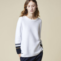 CONTRAST TIPPED SLEEVE SWEATER