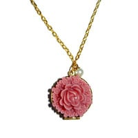Rose Pink Locket Charm Necklace, Mother's Day Necklace