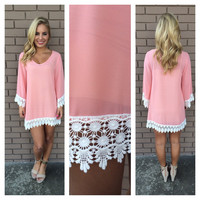 Pink Allison Crochet Long Sleeve Dress