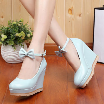 Round head Bowknot heeled shoes 1795IC