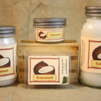 Coconut Scented Candle, Coconut Scented Wax Tarts, 26 oz, 12 oz, 4 oz Jar Candles or 3.5 Clam Shell Wax Melts