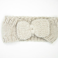 Knitted White Bow Head wrap from Insparel