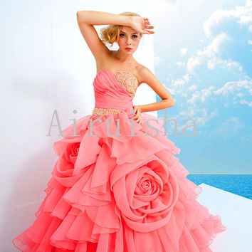Coral sweetheart beading multu-layers prom dress