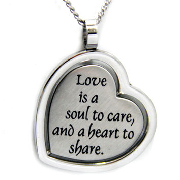 Love Is A Soul To Care… Reversible Heart Stainless Steel Necklace