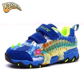 Dinoskulls Kids Sport Shoes Children Sneakers Breathable Leather Boy Running Shoes 2017 Girls Leisure Casual Shoes led